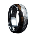 Mens Ring Hawaiian Wood and Meteorite Inlay with Arrow for Wedding Bands
