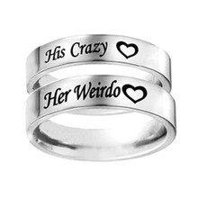 Funny His Crazy and Her Weirdo Ring Set For Couples