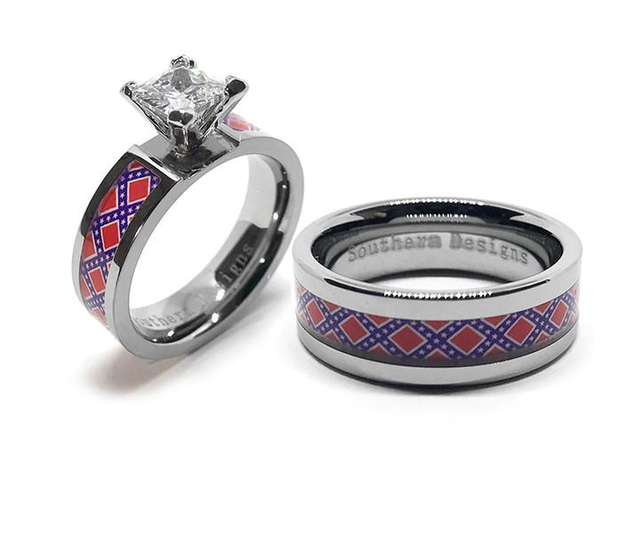 Rebel Flag Wedding Ring Set