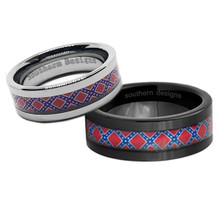 Dixie Flag His and Hers Wedding Bands in black and silver tungsten for Southern Flag or Rebel Pride.