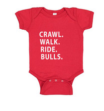 Cowboy up Bull Riding Baby Clothes in red for boys and girls