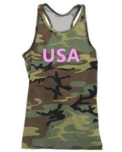 Brand Pink USA Camo Letters Love America Ladies Workout Out Gym Top and Apparel - fit moms and teens love this one all the time