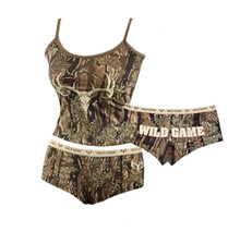 Sexy Lingerie Outfit with panties and camisole with shoulder straps in hunting camouflage as seen in picture