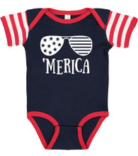 'Merica Baby Onesie for USA Red White Blue 4th of july or Memorial Day