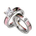 Pink Camo Engagement and Wedding Band Set For Her Titanium