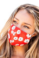 Ladies Designer Red Floral Face Mask Covers with Sun Flowers
