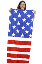 American Flag Beach Towel That Can Be Folded Into Draw String Bag