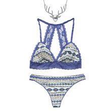 Country and Western Lingerie Outfit Set Matching Bralette and Thong Panty with Free Necklace