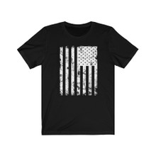 Black and White American Flag T Shirt Support Military