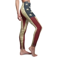 Vintage Grunge USA Flag Leggings For Women Side View Premium