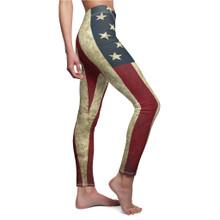 Vintage Grunge USA Flag Leggings For Women Side View Premium