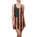 Vintage Pattern Ladies American Flag Shirt Dress In Patriotic Red White and Blue Pattern