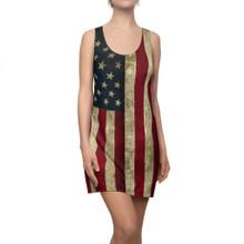Vintage Pattern Ladies American Flag Shirt Dress In Patriotic Red White and Blue Pattern