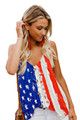 Ladies American Flag Button Up Tank Top in Vivid Print