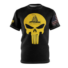 Gadsden Flag Dont Tread On Me Shirt With Punisher Skull And American Flag On the Sleeve