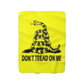 Don't Tread On Me Blanket made out of sherpa with rattlesnake logo in yellow
