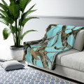 Aqua Teal Camo Blanket Fleece Sherpa