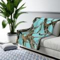 Aqua Teal Camo Blanket Fleece Sherpa