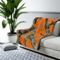Orange Camo Fleece Blanket Sherpa Hunting Pattern