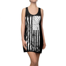 Black and White American Flag Dress with Racer Back
