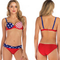 Front and Rear View of the Newest American Flag Ladies Bathing Suit Bikini