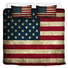 Vintage American Flag Comforter Set With Pillow Cases King Queen or Twin Sizes