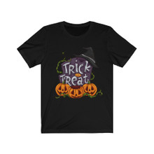 Ladies Black Witches Hat Trick Or Treat Tee Shirt With Pumpkins