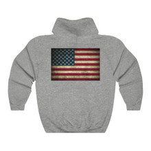 Plus Size American Flag Hoodie Back With Grunge Design 2 sided