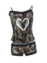 Sexy Hook and Antler Camo Lingerie Set with Cami and Panty
