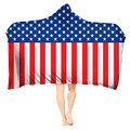 USA Flag Hooded Blanket