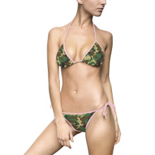 Ladies Army Camo Bikini with Pink String Ties