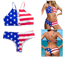 American Flag Boy Short and Halter Bathing Suit Womens