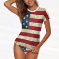 Womens American Flag Surf Shirt Bathing Suit