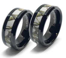 Camo Wedding Ring Set For Him and Her With White and Black