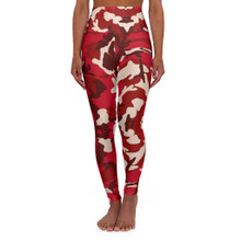 High Waist Red Camouflage Leggings