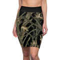 Women's Black Camouflage Pencil Skirt