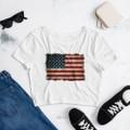 Grunge American Flag Crop Top