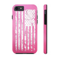 Premium Pink and White American Flag Case Mate Tough Phone Cases