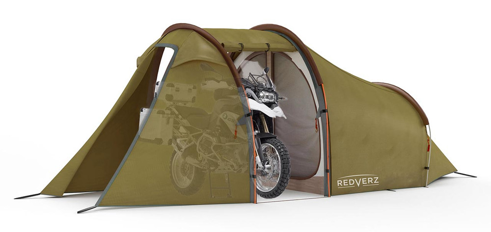 Redverz Atacama Expedition Tent in Green. Main garage doors open, fits full size adventure motorcycle or full bagger. Shown with BMW R1200GS in garage bay