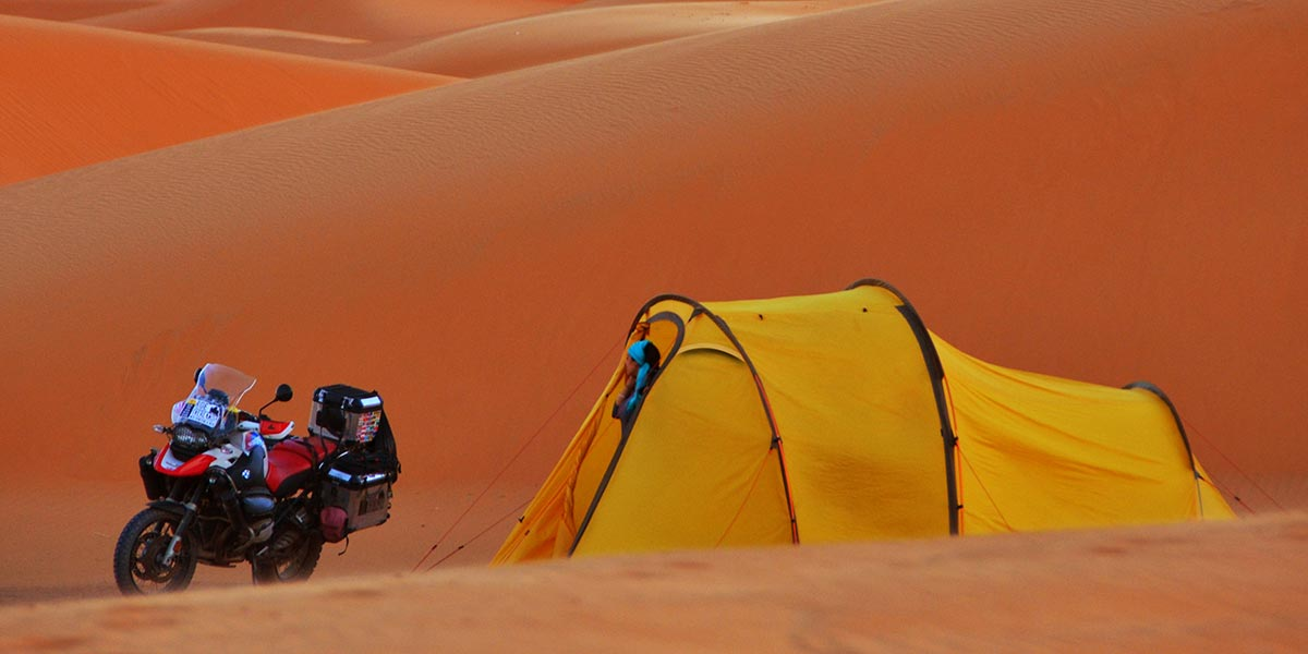 Redverz Gear Atacama Expedition Motorcycle Tent Moroccan Desert