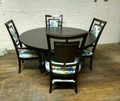 PADMA'S PLANTATION FURNITURE NIKKO ROUND DINING TABLE WITH 4 RATTAN BACK CHAIRS