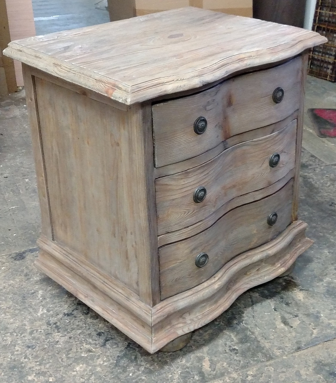 Padma S Plantation Furniture Salvaged Wood End Table With Drawers Nightstand In Old Grey