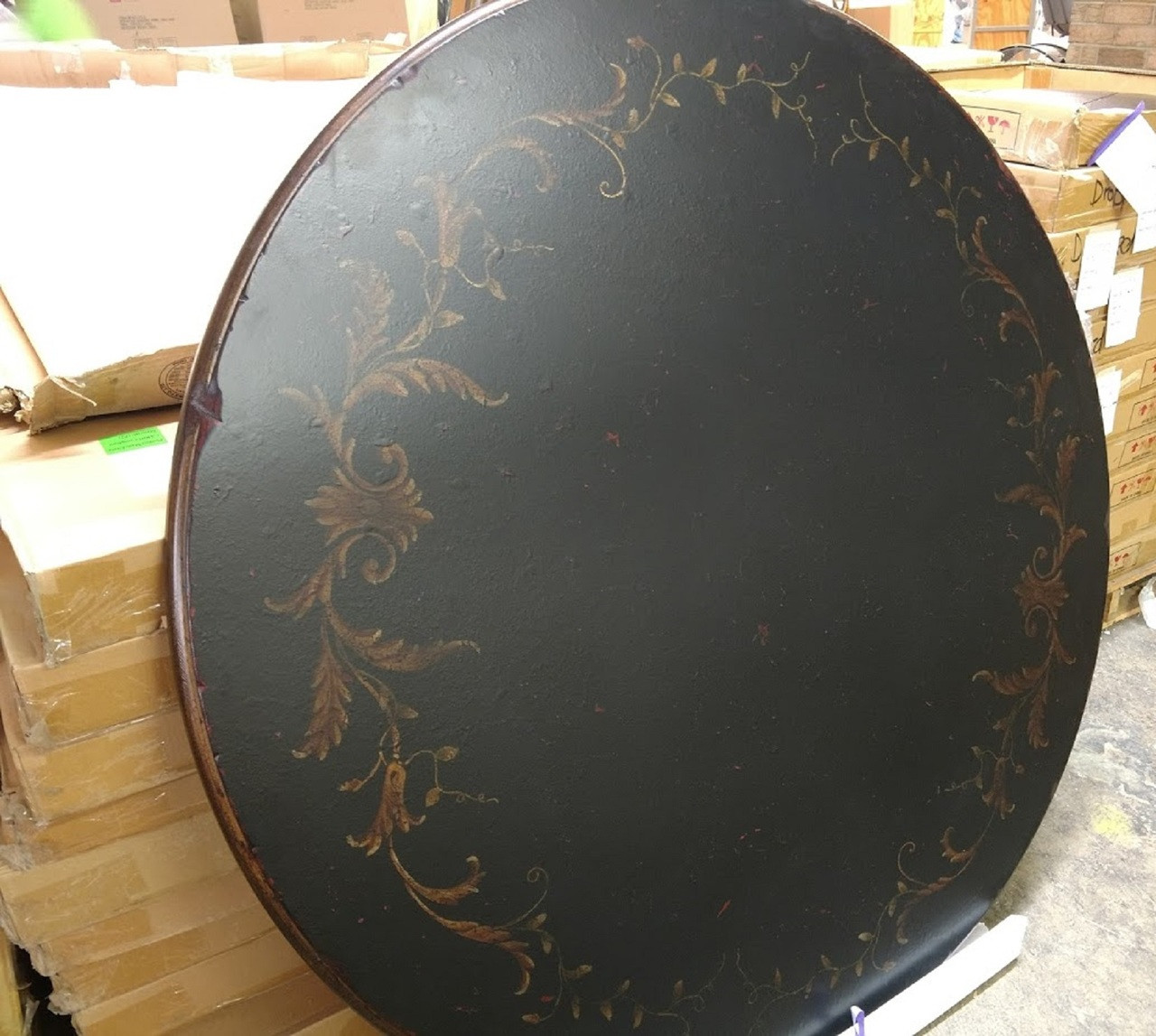 Vanguard Furniture Ebony Crackle With Painted Leaf Motif 40 Round Table Top Wooden Table Top Unfinished Furniture Round Table Top 48 Diameter Top North Carolina Furniture Closeout Furniture Wholesale Furniture Discontinued Furniture