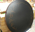 "VANGUARD FURNITURE EBONY CRACKLE WITH PAINTED LEAF MOTIF 26"" ROUND WOODEN TABLE TOP"