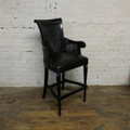 XS UPHOLSTERY CARVED BARSTOOL WITH CANE & LEATHER