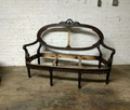 VANGUARD FURNITURE FINISHED / STAINED CARVED OVAL BACK SETTEE FRAME