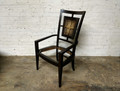 VANGUARD FURNITURE THOM FILICIA RATTAN BACK DINING ARM CHAIR IN OILED JAVA