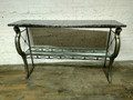 HICKORY WHITE FURNITURE RAMS HEAD CONSOLE TABLE WITH MARBLE TOP
