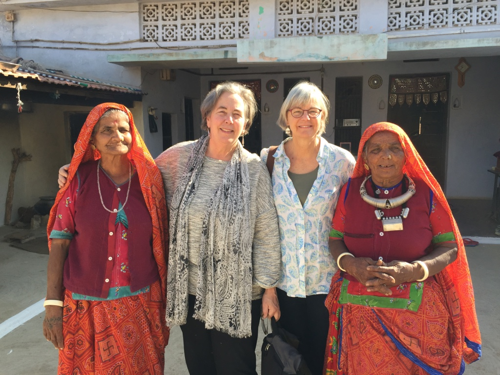 Mary Anne and Jody, Cultural Cloth founders, with Shyamji's mother and auntie