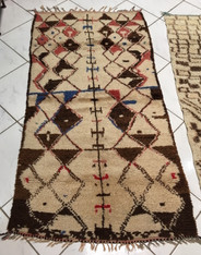 "Handwoven and Hand Knotted Azilal Vintage Tribal Berber Wool Rug Morocco (35"" x 65"")"